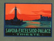 Collectable Hotel luggage label  ITALY   Trieste Lighthouse    #287